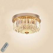 12W LED Modern Luxury Rubor Mount Plafonnier élégant Elegant Clear Glass Crystal Strips Rain Drop Design Chrome Finish Round Shape pour chambre à coucher, salon, couloir, Ø25CM