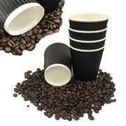 500 X Fiesta Hot Cup Ripple Mur Noir 226,8 gram jetable Take Away Travel