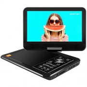 APEMAN 12.5″ Lecteur DVD Portable Grand écran Pivotant 10,5″ Batterie Rechargeable intégrée Carte SD USB Prise en Charge Directe Formats AVI/RMVB / MP3 / JPEG (Noir)