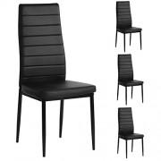 Aingoo Lot de 4 chaises de salle à manger PU Chaises de Cuisine pour salle de cuisine, noir