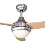 Air & Light KUMBA Ventilateur de plafond  avec éclairage globe/télécommande , Bouleau/Gris , 122 cm
