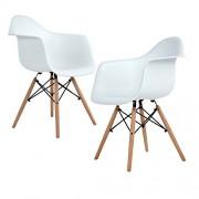 Ajie Lot de 4 chaises de Cuisine en Bois, rétro Faux Cuir rembourrée Chaise de Salle de Bureau Pieds en Bois de hêtre Massif