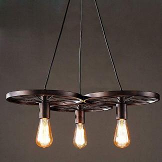 American rétro Lampe Suspendue corde chanvre E27 3 tête ronde artistique Vintage Suspension Edison L'ampoule n'est pas incluse