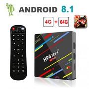[Android 8.1 TV Box] H96 Max+ Smart TV Box 4GB+64GB RK3328 Quad Core 64Bit CPU Boîtier TV, 2018 Nouveau Set Top Box Support 4K Ultra HD 2.4G/5GHz WiFi 100M LAN 3D H.265 Bluetooth