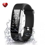 Antimi Bracelet Fitness Fitness Tracker Pulsuhren Podomètre pour iPhone Android Noir