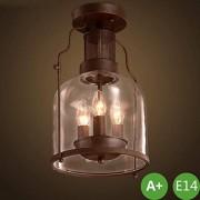 Antique ronde verre ombre couloir plafond lampe métal LED rétro Vintage Loft lampe suspendue E14