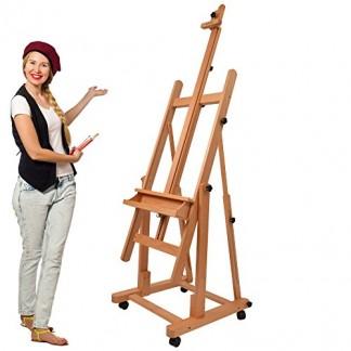 Artina Chevalet professionnel d'atelier « Verona » – En bois de hêtre – 4 roulettes – Double support – Hauteur: 185cm