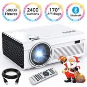 BIGASUO Vidéoprojecteur 2400 Lumens Portable LED Mini Projecteur Bluetooth, Soutien Charge Le Format Plein HD 1080P iPhone Andriod Jeu TV multimédia Home Theater Entertainment