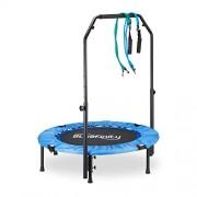 Bluefinity Trampoline avec barre pliable sac transport barre de maintien mini HxlxP: 121 x 102 x 102 cm, bleu/noir