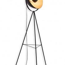 Briloner Leuchten 1380-015 Lampadaire trépied vintage – style projecteur de cinéma – abat-jour métal noir mat & or – douille E27-60 W max. – hauteur : 160 cm