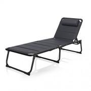 Campart Travel BE-0665 Chaise Lounge Ancona-Rembourré-5 Positions réglables Longue de Luxe Mixte Adulte, Noir