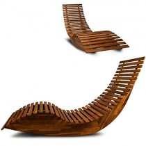 Chaise longue à bascule en bois – Transat ergonomique – Jardin/plage/terrasse – Bain de soleil – Relax