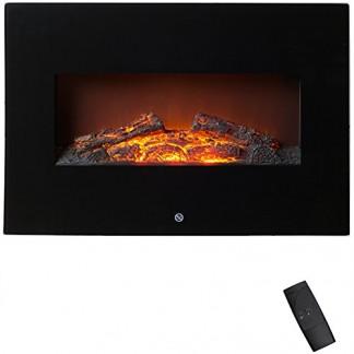 Cheminée murale électrique 1800W Effet flammes LED Réglage de la température Décoration intérieur