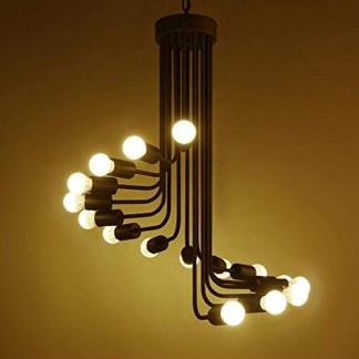 Créative Retro Industrielle Pendentif Lampe pour Couloir Escaliers Salle À Manger Café Bar Club Chandelier Classique Rotation Suspendu Chandeliers Simple Élégant Mode Plafonnier Ø60cm (Sans Ampoule)