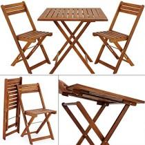 Deuba Set de Balcon en Bois d'acacia avec 2 chaises et 1 Table de Jardin Pliable