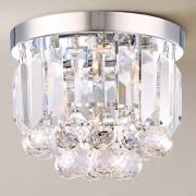 E14 Design Plafonnier Avec Cristal Clair Balcon Plafonnier Avec ChâSsis En MéTal Chromé Ø25cm H20cm Mini Lampes LED Pour Couloir De Cuisine Bar Salon Escalier Etc. MAX.40W 230V (2 Ampoules EXCL.)