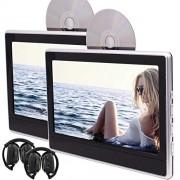 EinCar jumeaux Lecteur DVD portable Backseat en syst¨¨me de divertissement pour voiture voiture 11,6 pouces LED double 1366 * 768 ¨¦cran moniteur appuie-t¨ºte, support HDMI USB / SD AV FM IR avec 2