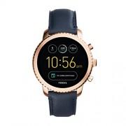 FOSSIL Montre connectée Explorist / Smartwatch homme étanche en cuir bleu marine – Compatibilité iOS & Android – Coffret montre avec son chargeur