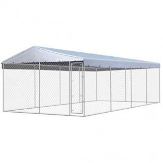 Festnight Chenil extérieur avec Toit pour Chiens Acier Galvanisé 8 x 4 m