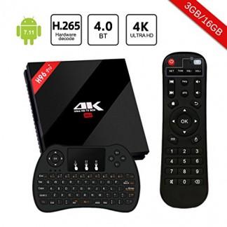 H96 Pro Plus TV Box Android 7.1 3Go RAM 16Go ROM Amlogic S912 Octa-Core 64Bit,4K Ultra HD H.265 Bluetooth 4.1 Dual WiFi 2.4 GHz/5.0GHz LAN 1000M Smart TV Box avec Mini Clavier sans Fil