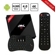 H96 Pro Plus TV Box Android 7.1 3Go RAM 16Go ROM Amlogic S912 Octa-Core 64Bit,4K Ultra HD H.265 Bluetooth 4.1 Dual WiFi 2.4 GHz/5.0GHz LAN 1000M Smart TV Box avec Mini Clavier sans Fil