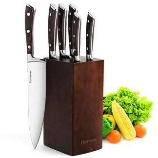 Homever Couteau de Cuisines, 6 Pièces Set Couteaux Cuisine with Bloc en Bois, Set de Couteaux Professionnels, Lot de Couteaux en Acier Inoxydable à Haute Teneur Support en Bois