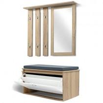 IDMarket – Vestiaire d'entrée Luxe en bois blanc et hêtre meuble chaussures