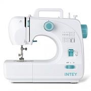 INTEY Machine à Coudre Electrocinétique, Fait de Plastique à Haute Densité et Métal, Couleur Blanc et Bleu. 16 Points à Choisir.