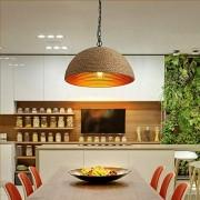 Industrielle Rétro Pendentif Plafond Lumière Chanvre Corde Demi-cercle Ombre E27 Lustre Salon Restaurant Café Bar D400MM x H 1000 mm (Réglable)
