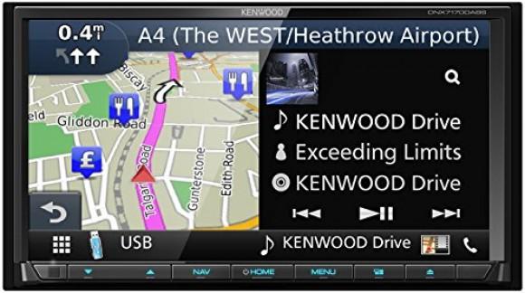 'Kenwood dnx-7170dabs système de Navigation 7avec DVD et Dab +, Touch Screen Clear Resistive, Moniteur motorisé, éclairage Variable, Bluetooth intégré, Multicolore