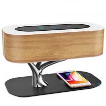 Lampe de Chevet Ampulla avec Parleur Bluetooth et Chargeur Sans Fil, Mode Veille Gradation progressive