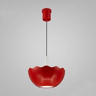 Lampe suspension LED 15W avec applique en verre Lampe en forme de fleur pour chambre à coucher, salle à manger, rouge