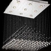 'Lampes moderne Contemporary acier inoxydable saugen Top Plate»pluie Drop Lustre Dessin Hanging Corde Éclairage et Crystal Ball L50 cm W50 cm * H de 60 m 40 wgu10 pour le salon chambre lustre