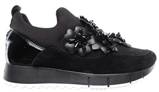 Liu Jo Chaussures Femmes Sneakers Gigi 03 Elastic Sock Leather Black New Noir