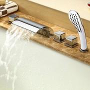 Lot de 5accessoires pour baignoire – Mitigeur cascade – Robinets – Douchette – Chromés