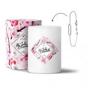 MY JOLIE CANDLE • Bougie Parfumée avec Bijou Surprise à l'Intérieur • Cadeau : Bracelet • Parfum Fleur de Cerisier • Cire Naturelle 100% Végétale