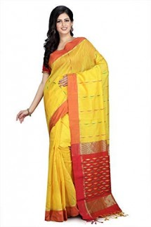 Mayurakshi Embroidered Kanjivaram Handloom Linen-Khadi Soft Dhakai Jamdani Saree   Red – Yellow   with Attached Unstiched Blouse-Piece