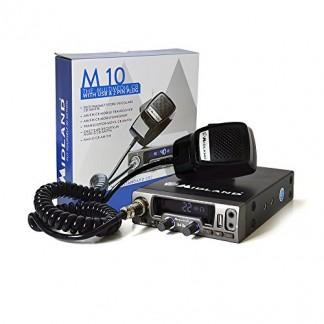 Midland M10 Radio CB Multi Norme avec AM/FM Connexion USB/Automatic Digital Squelch Noir