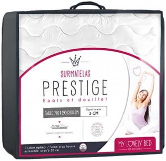 My Lovely Bed – SurMatelas Prestige – Epais et Douillet – Enveloppe 100% Coton – Lavable