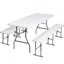 ProBache – Table pliante portable 180 cm et 2 bancs pliables pour camping buffet
