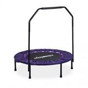 Relaxdays Trampoline intérieur pliable avec poignée barre de maintien charge max. 120 kg HxlxP: 113 x 102 x 102 cm, noir-violet