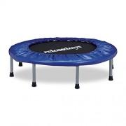 Relaxdays Trampoline intérieur pliable bleu-noir fitness gym musculation HxlxP: 22 x 95 x 95 cm charge maximale 100 kg, bleu-noir