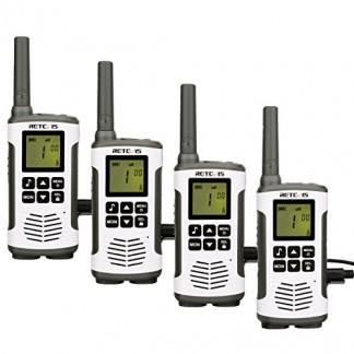 Retevis RT45 Talkies Walkies PMR446 Radio sans Licence 121 Codes VOX Scan Moniteur Écran LCD 10 Tonalités d'appel Lampe de Poche LED (Blanc, 2 Paires)