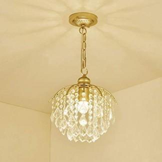 Suspension Lampe Vintage Plafonnier Simple K9 Cristal Pendentif Lumière Simple Plafond Corridor Allée Bar Pendaison Lampe Alimentaire Cristal Suspendu Lampe 28 CM × 78 CM 220 V E27 40 W Source de Lumière
