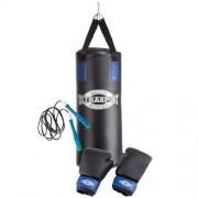 Ultrasport Boxing Gear – kit de boxe pour les jeunes avec sac de frappe plein en vinyle 60 x 25 cm, gants de boxe + bandages 8 oz, corde à sauter, fixation plafond et sac à dos de transport