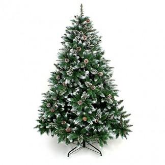 Yorbay Sapin de Noël Artificiel Arbre de Noël avec Support dans différentes Tailles au Choix, Naturel Blanc Enneigé Décoration de Noël