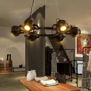 ZAsee Lighting Creative Black Lamps Cafe Bars Wrought Iron Chandeliers Creative Retro Lighting Large