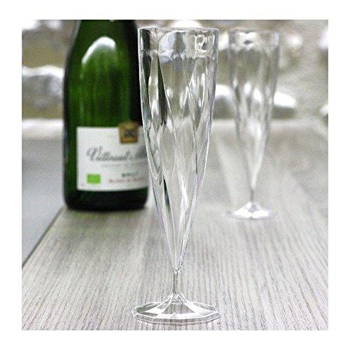 200 Flûtes à Champagne Jetables Monobloc 13cl, plastique polypropylène (transparent)
