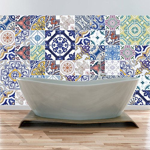 59 Stickers adhésifs carrelages | Sticker Autocollant Carreaux de ciment – Mosaïque carrelage mural salle de bain et cuisine | Carreaux de ciment adhésif mural – azulejos – 60pièces