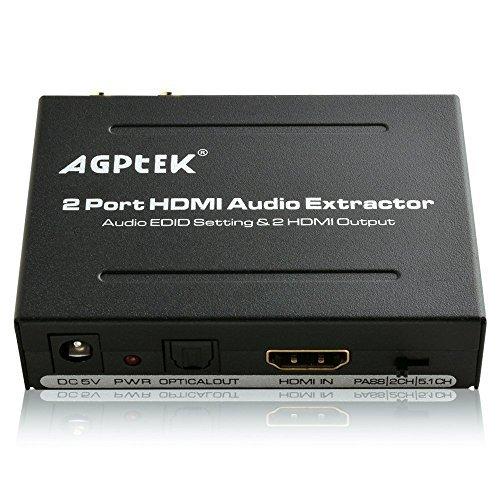 AGPTEK Extracteur Audio Splitter Switch avec MHL, Arc, by-Pass, EDID, 5.1CH/2CH, IR Support Full HD 1080P, 3D